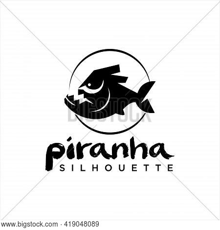 Black Piranha Logo Design Silhouette Fish And Wildlife Animal For Nature Or Fauna Sticker Template I