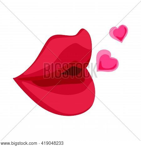 Vector Of Sexy Red Lips With Love Sign. Lips Icon. Sexy Lip Shape, Woman Beauty, Passionate Lady, Lo