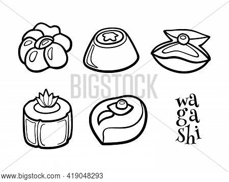 Doodle Set Of Wagashi. Japanese Sweets. Hand Drawn Sketch Of Traditional Desserts. Vector Illustrati