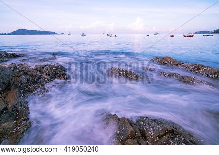 Beautiful Long Exposure Seascape With Sea Wave Forms A Dense White Foam On The Rocks Seashore Seasca