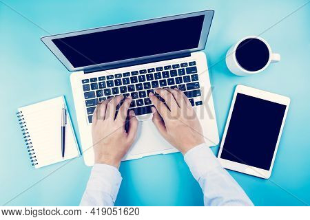 Hand Of Businessman Working On Laptop Computer With Tablet And Notebook On Desk In Office, Hand Typi