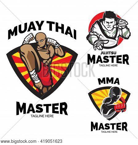 Martial Art Master Logo Set. Emblem Or Badge  Style.