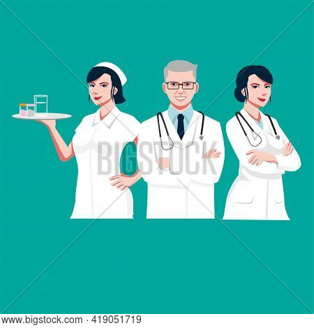 Medic Team Vector Flat Illustration  Close Up For Infographic, Advertisement, Banner, Or Any Other P