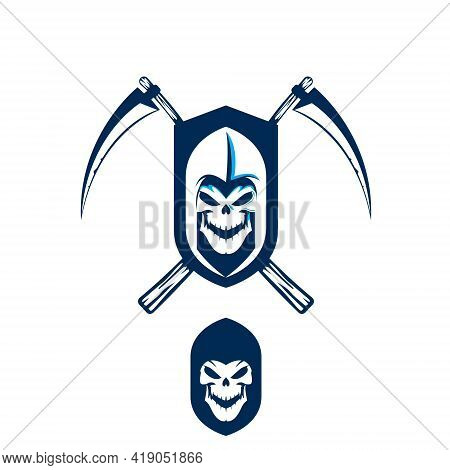 Grim Reaper Or Death Scythe Vector Illustration Simple Graphic For Logo Design Element Or Any Other