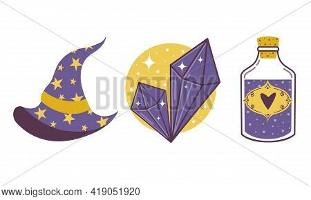 Vector Set Of Magic Artifacts. Wizard Hat, Rock Crystal And Love Elixir. Isolated Image On A White B
