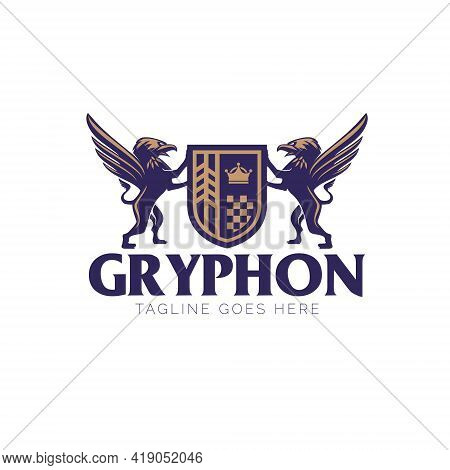 Gryphon Crest Logo. Emblem Style Vector. Can Be Used For Company Or Business Logo, Automotive, T Shi