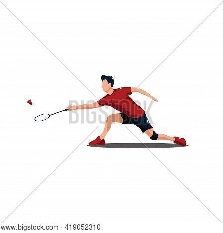Sport Man Badminton Stretching Receive The Shuttlecock From The Opponent - Badminton Athlete Are Str