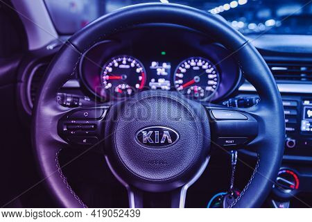 Novosibirsk, Russia - April 25 2021:kia Rio X-line,  Dashboard, Player, Steering Wheel With Logo And