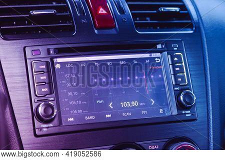 Novosibirsk, Russia - April 25 2021:subaru Forester, Auto Interior, Car Stereo Audio System Front Pa