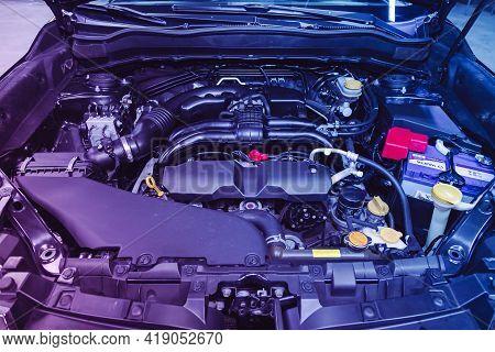Novosibirsk, Russia - April 25 2021:subaru Forester,  Under The Hood Of Car. Powerful Engine Closeup