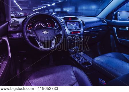 Novosibirsk, Russia - April 25 2021:kia Sorento, Salon Of A New Stylish Car, Steering Wheel , Dashbo