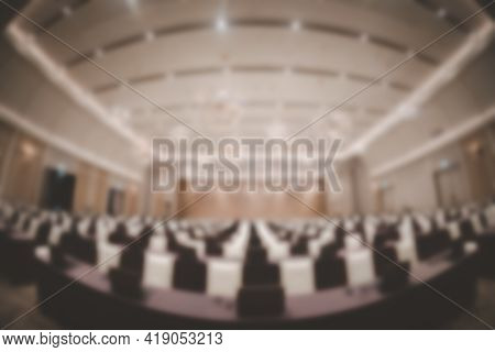 Blur Background Of Empty Seminar Room After Finish Meeting And Audience Go Out In A Seminar Room Bac