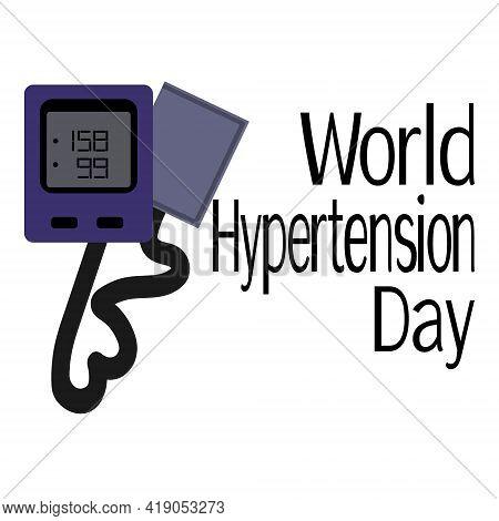 World Hypertension Day, Medical Poster Or Banner Idea, Blood Pressure Measuring Device Vector Illust