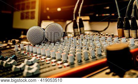 Microphone And Sound Mixer In Studio For Sound Control System And Audio Recording Equipment And Musi