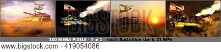 Lebanon Army Concept - 4 Highly Detailed Illustrations Of Modern Tank With Not Existing Design With