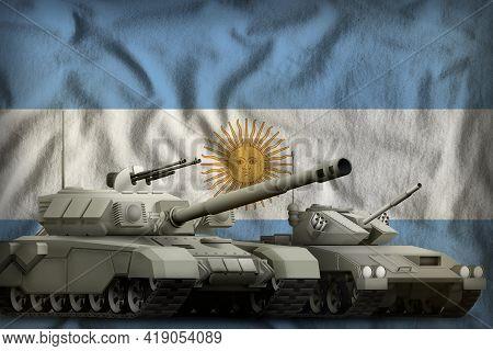 Tanks On The Argentina Flag Background. Argentina Tank Forces Concept. 3d Illustration