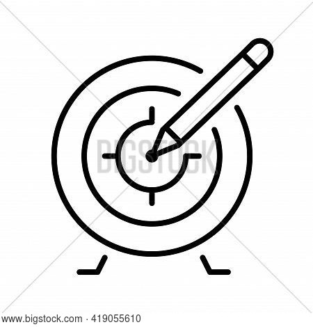 Monochrome Target With Accuracy Arrow Icon Vector Illustration Aim Goal Competition Game Winner