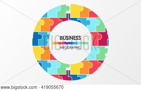 Business Infographic. Presentation With Elements Of Graph, Diagram With Steps, Processes. Vector Tem