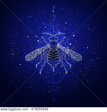 Vector Illustration With Hand Drawn Wasp And Sacred Geometric Symbol Against The Starry Sky. Abstrac