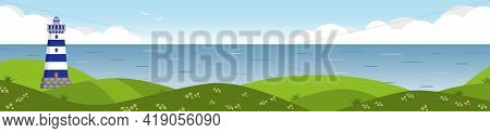 Long Horizontal Banner With Seascape. Lighthouse On Seashore With Clouds On Background, Seagulls In
