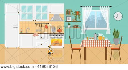 Cozy Kitchen With White Furniture, Refrigerator, Food On Gas Stove And Inside The Oven, Window, Tabl