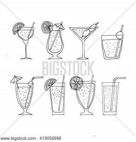 Cocktails Set Icon. Hand Drawn Doodle Style. Vector, Minimalism, Monochrome. Alcoholic Drink, Bar, M