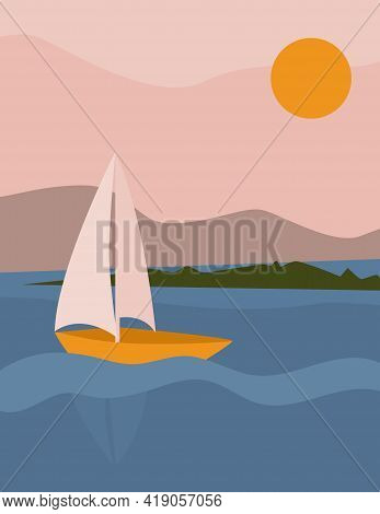 Landscape Abstract Boho With Sailboat At Sea. Aesthetic Minimal Nature Background With Sun, Sky, Mou
