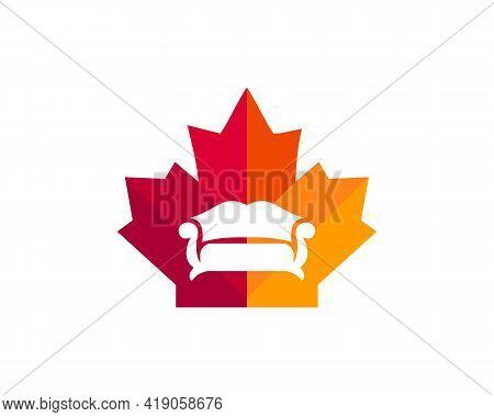 Maple Sofa Logo Design. Canadian Furniture Logo. Red Maple Leaf With Sofa Vector