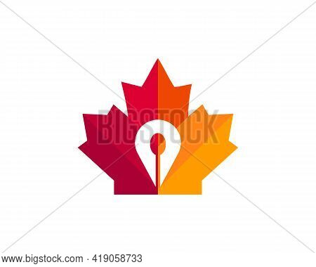 Maple Spon Logo Design. Canadian Food Location Logo. Red Maple Leaf With Location And Spon Vector