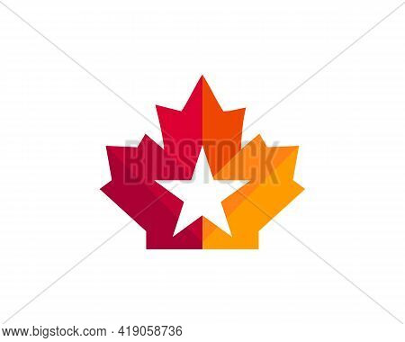 Maple Star Logo Design. Canadian Red Maple Leaf With Star Concept
