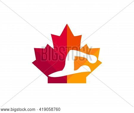 Maple Swimming Logo Design. Canadian Swimming Logo. Red Maple Leaf With Swimming Vector