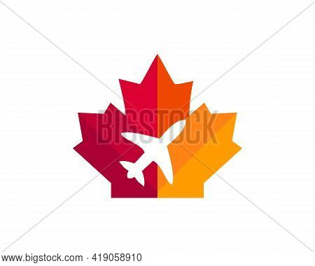 Maple Travel Logo Design. Canadian Travel Logo. Red Maple Leaf With Airplane Vector