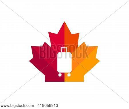 Maple Travel Bag Logo Design. Canadian Travel Logo. Red Maple Leaf With Travel Bag Vector