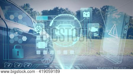 Composition of car drawing with computer digital icons with countryside in background. global networking, automobile industry, driving and technology concept digitally generated image.