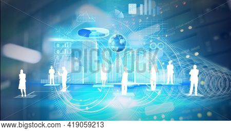 Composition of people silhouettes and data processing on screen over computer server. global networking, automobile industry, driving and technology concept digitally generated image.