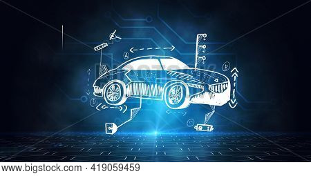 Composition of car drawing with computer circuit board elements on blue background. global networking, automobile industry, driving and technology concept digitally generated image.