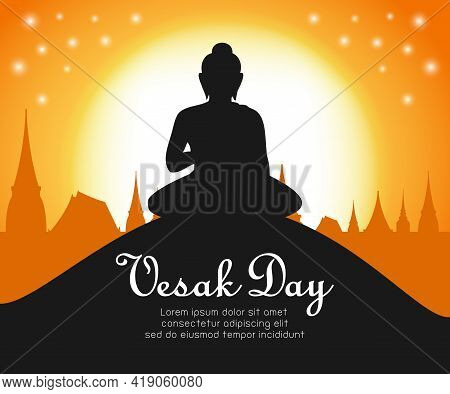 Happy Vesak Day With Buddha Sitting Under Bodhi Tree On Full Moon Night, Buddha Purnima In Visakha P