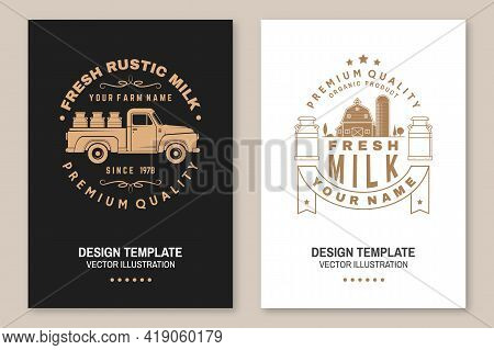 Fresh Rustic Milk Badge, Logo. Vector Flyer, Brochure, Banner, Poster Design With Cow, Milk Farm, Tr