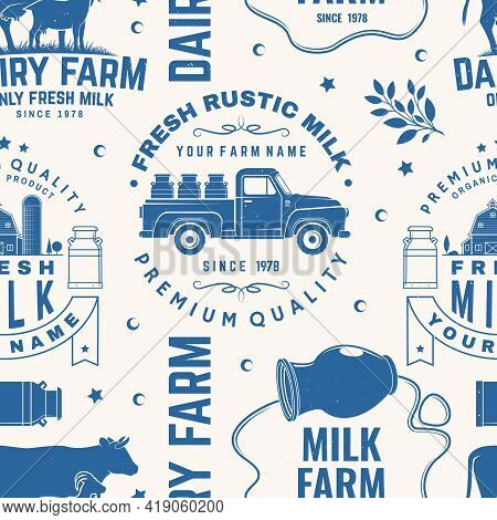 Milk Farm Seamless Pattern Or Background. Vector Seamless Dairy Farm Pattern With Cow, Goat, Milk Ca