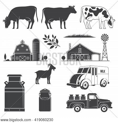 Set Dairy And Milk Farm Equipment Icon. Vector Illustration Set Include Cow, Goat, Farm, Milk Can, P