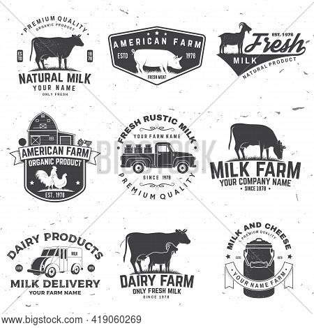American Farm Badge Or Label. Vector. Vintage Typography Design With Chicken, Pig, Cow And Farm Hous