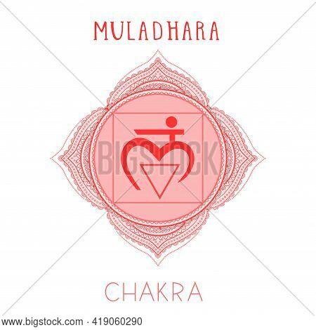 Vector Illustration With Symbol Chakra Muladhara On White Background. Circle Mandala Pattern And Han