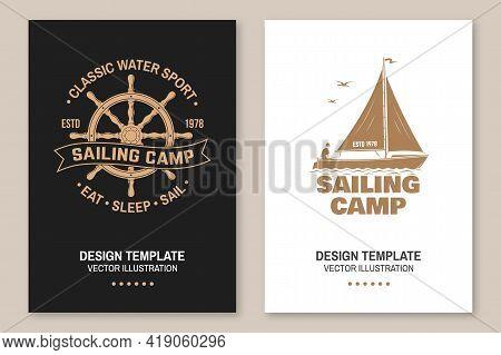Set Of Summer Sailing Camp Template. Vector Illustration Flyer, Brochure, Banner, Poster Design With
