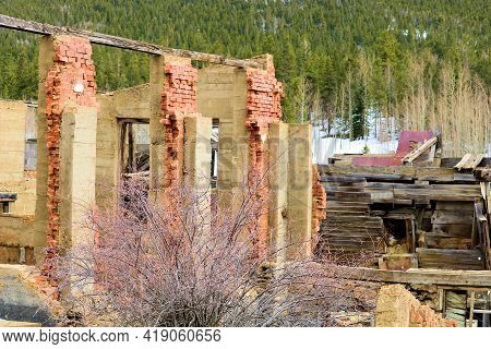 Collapsed Brick Building At The Historic Mining Town Of Russell Gulch, Co In The Rocky Mountains