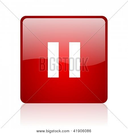 pause red square glossy web icon on white background