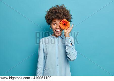 Beautiful African American Woman Covers Eyes With Fragrant Orange Gerbera Or Daisy Flower Wears Fest