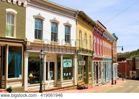 April 25, 2021 In Central City, Co:  Vintage Buildings On Main Street Taken In The Historic Mining T