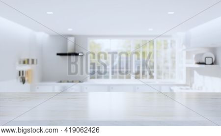 3d Rendering Of Kitchen Interior Background With Counter Or Table. Decoration With Marble Or Natural