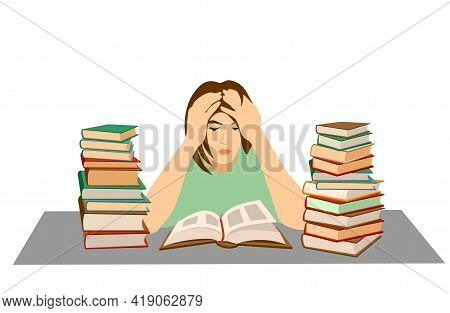 Tired Student. Mental Stress, Education, Preparation, Frustration, Learning Concept. Tired Depressed