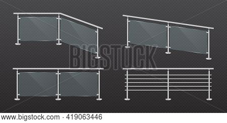 Glass Fence Section With Steel Railing. Transparent Acrylic Fencing Handrail Balustrade With Metal B